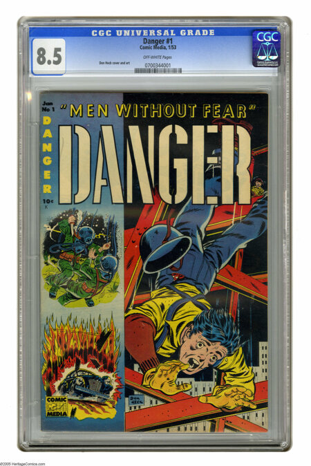 Danger #1 (Comic Media, 1953) CGC VF+ 8.5 Off-white pages. Don Heck cover and art. This is currently the highest grade award... (1 )