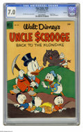 """Golden Age (1938-1955):Cartoon Character, Four Color #456 Uncle Scrooge -- File Copy (Dell, 1953) CGC FN/VF7.0 Off-white pages. Featuring Uncle Scrooge in """"Back to t... (1 )"""