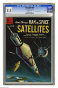Silver Age (1956-1969):Science Fiction, Four Color #954 Man in Space: Satellites -- File Copy (Dell, 1959) CGC VF+ 8.5 Off-white pages. Overstreet 2005 VF 8.0 value...