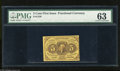 Fractional Currency:First Issue, Fr. 1230 5c First Issue PMG Choice Uncirculated 63 Three broad margins and a tight right margin are found on this bold yello...