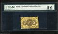 Fractional Currency:First Issue, Fr. 1230 5c First Issue PMG Choice About Uncirculated 58 A bright yellow type note that is well margined and fresh which mus...