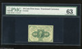 Fractional Currency:First Issue, Fr. 1242 10c First Issue PMG Choice Uncirculated 63 A bright and well margined type note that apparently earned its 63 grade...