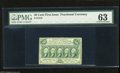 Fractional Currency:First Issue, Fr. 1310 50c First Issue PMG Choice Uncirculated 63 A well marginedand well perforated first issue with monogram note that ...