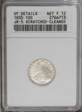 Bust Dimes: , 1835 10C F12--Cleaned, Scratched--ANACS, VF Details JR-5. Pop: (P1/294, N 1/362). Mintage: 1,410,000. Numismedia Wsl. Pric...