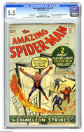Silver Age (1956-1969):Superhero, The Amazing Spider-Man #1 (Marvel, 1963) CGC FN- 5.5 Off-whitepages. Spider-Man makes his second appearance, this time in t... (1)