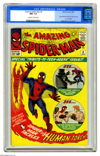 The Amazing Spider-Man #8 (Marvel, 1964) CGC NM+ 9.6 Off-white to white pages. We give you Flash Thompson: football star...
