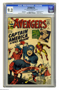 Silver Age (1956-1969):Superhero, The Avengers #4 (Marvel, 1964) CGC NM- 9.2 Cream to off-whitepages. Here's a big one for you, boys and girls -- the first S...