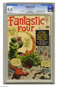 Silver Age (1956-1969):Superhero, Fantastic Four #1 (Marvel, 1961) CGC VG 4.0 Off-white to white pages. The book that ushered in the Marvel Age of Comics, wit...