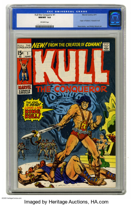 Kull the Conqueror #1 (Marvel, 1971) CGC NM/MT 9.8 Off-white pages. After Conan became a smash success, Marvel gave Robert E...