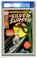 Bronze Age (1970-1979):Superhero, The Silver Surfer #14 (Marvel, 1970) CGC NM+ 9.6 Off-white to white pages. Spider-Man drops by to trade a few well-placed bl...