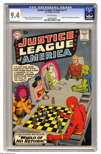Justice League of America #1 (DC, 1960) CGC NM 9.4 Off-white pages. This #1 issue is currently 13th in Overstreet's rank...
