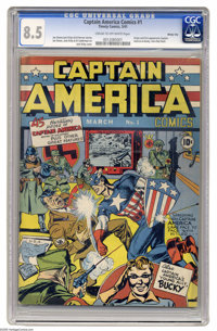 Captain America Comics #1 Windy City pedigree (Timely, 1941) CGC VF+ 8.5 Cream to off-white pages. The only thing nicer...