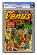 "Golden Age (1938-1955):Science Fiction, Venus #11 (Atlas, 1950) CGC VF 8.0 Off-white pages. This issue's""End of the World"" cover makes it one of the most valuable ..."