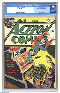 Action Comics #65 Mile High pedigree (DC, 1943) CGC NM 9.4 White pages. This Mile High copy has lapped the competition a...