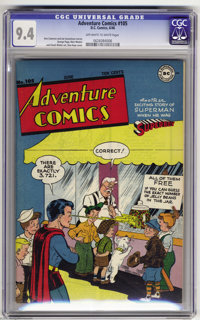 Adventure Comics #105 (DC, 1946) CGC NM 9.4 Off-white to white pages. The Boy of Steel takes a little time out to count...