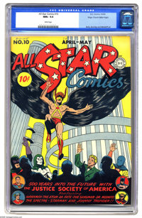 All Star Comics #10 Mile High pedigree (DC, 1942) CGC NM+ 9.6 White pages. A glorious Hawkman cover never looked better...