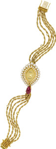 Timepieces:Pocket (post 1900), DeLaneau Lady's Diamond, Ruby, Gold Multi-Chain Integral BraceletWristwatch, modern. Case: 27 x 20 mm, navette-shaped, 18... (Total:1 Item)