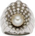 Estate Jewelry:Rings, Retro Cultured Pearl, Diamond, Platinum Ring. The ring, designed asan oyster shell, features a cultured pearl measuring 8... (Total: 1Item)
