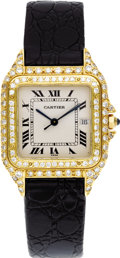 Timepieces:Wristwatch, Cartier Men's Diamond, Gold, Leather Strap Wristwatch, modern. Case: 28 mm, cushion-shaped 18k yellow gold with double dia... (Total: 1 Item)