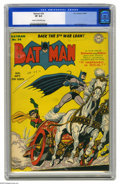 Golden Age (1938-1955):Superhero, Batman #24 (DC, 1944) CGC VF 8.0 Cream to off-white pages. Thanks to their pal Professor Carter Nichols, the Dynamic Duo are...