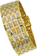 Estate Jewelry:Bracelets, Tri-Color Gold Bracelet. The 18k gold bracelet features pink,white, and yellow gold links enhanced by diamond-cut pattern...(Total: 1 Item)