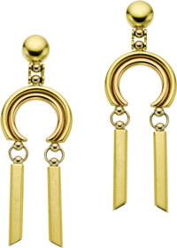 Gold Earrings  The 18k yellow gold earrings are completed by posts and friction backs. Made in Italy. Gross weight 11.40...