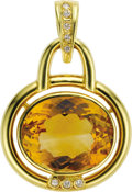 Estate Jewelry:Pendants and Lockets, Citrine, Diamond, Gold Pendant. The pendant features an oval-shapedcitrine measuring 18.50 x 15.00 x 9.20 mm and weighing... (Total: 1Item)