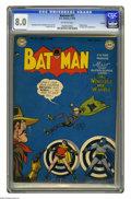 Golden Age (1938-1955):Superhero, Batman #51 Twilight pedigree (DC, 1949) CGC VF 8.0 Off-white pages. The Penguin is the featured villain in this issue; this ...