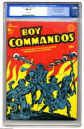 Golden Age (1938-1955):War, Boy Commandos #1 Mile High pedigree (DC, 1942) CGC NM 9.4 White pages. While Joe Simon and Jack Kirby had already contribute...