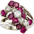 Estate Jewelry:Rings, Diamond, Ruby, White Gold Ring. The ring features full-cut diamonds weighing a total of approximately 1.20 carats, enhance... (Total: 1 Item)