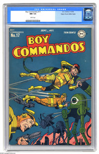 Boy Commandos #17 Mile High pedigree (DC, 1946) CGC NM 9.4 White pages. The Boy Commandos in outer space? Well, with no...