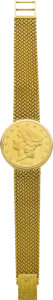 Timepieces:Wristwatch, Universal Geneve Men's $20 Gold Coin, Gold Bracelet Wristwatch, modern. Case: 35 mm, hinged 18k yellow gold fitted to a U.... (Total: 1 Item)