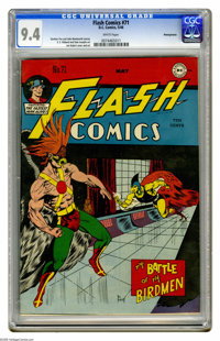Flash Comics #71 Pennsylvania pedigree (DC, 1946) CGC NM 9.4 White pages. Joe Kubert drew Hawkman both on the cover and...