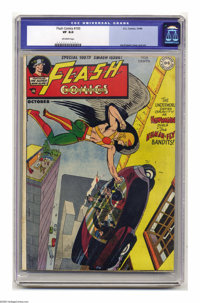 """Flash Comics #100 (DC, 1948) CGC VF 8.0 Off-white pages. This issue's """"scarce"""" according to Overstreet. Joe Ku..."""