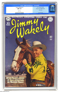 Jimmy Wakely #1 Mile High pedigree (DC, 1949) CGC NM 9.4 White pages. Every time we'd seen this issue before, it was a w...