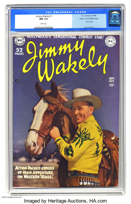 Jimmy Wakely #1 Mile High pedigree (DC, 1949) CGC NM 9.4 White pages. Every time we'd seen this issue before, it was a well-...