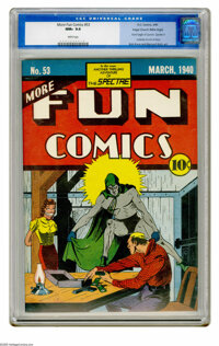 More Fun Comics #53 Mile High pedigree (DC, 1940) CGC NM+ 9.6 White pages. This issue, the second appearance of the Spec...