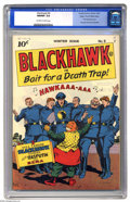 Golden Age (1938-1955):Adventure, Blackhawk #9 Mile High pedigree (Quality, 1944) CGC NM/MT 9.8 Off-white to white pages. We present to you the best known cop...