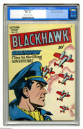 Golden Age (1938-1955):War, Blackhawk #12 Mile High pedigree (Quality, 1946) CGC NM+ 9.6Off-white to white pages. This is the first time we've offered ...