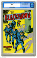 Golden Age (1938-1955):Adventure, Blackhawk #13 Mile High pedigree (Quality, 1946) CGC NM 9.4 Off-white to white pages. The radiant colors that are the tradem...