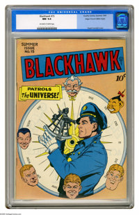 Blackhawk #15 Mile High pedigree (Quality, 1947) CGC NM 9.4 Off-white to white pages. This sterling Mile High copy is th...