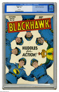 Golden Age (1938-1955):Superhero, Blackhawk #16 Mile High pedigree (Quality, 1947) CGC NM+ 9.6 White pages. Huddle up, comic fans -- it's time to run the play...