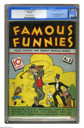 Platinum Age (1897-1937):Miscellaneous, Famous Funnies #1 (Eastern Color, 1934) CGC FN 6.0 Cream to lighttan pages. This was the first comic book sold to the gener...