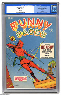 """Funny Pages #42 Mile High pedigree (Centaur, 1940) CGC NM 9.4 White pages. It's rated """"scarce"""" by Overstreet..."""
