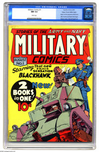 Military Comics #1 Mile High pedigree (Quality, 1941) CGC NM 9.4 White pages. This issue features the origin and first a...