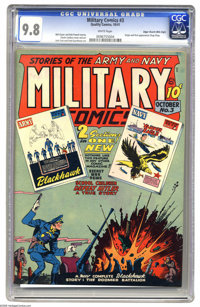 Military Comics #3 Mile High pedigree (Quality, 1941) CGC NM/MT 9.8 White pages. The third appearance of the Blackhawks...