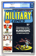 Golden Age (1938-1955):War, Military Comics #8 Mile High pedigree (Quality, 1942) CGC NM 9.4 Off-white pages. A half-black, half-white cover adds up to ...