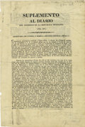 Military & Patriotic:Pre-Civil War, [Broadside] Extremely Rare Account of Santa Anna's Operations in Texas During the Revolution, With Specific Mention of Events ...