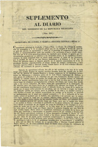 [Broadside] Extremely Rare Account of Santa Anna's Operations in Texas During the Revolution, With Specific Mention of E...