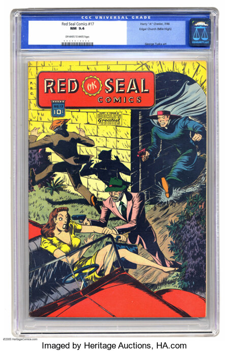 "Red Seal Comics #17 Mile High pedigree (Chesler, 1946) CGC NM 9.4 Off-white to white pages. This mag from the Harry ""A"" Ches..."